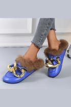 Women's Chain Furry PU Sandals