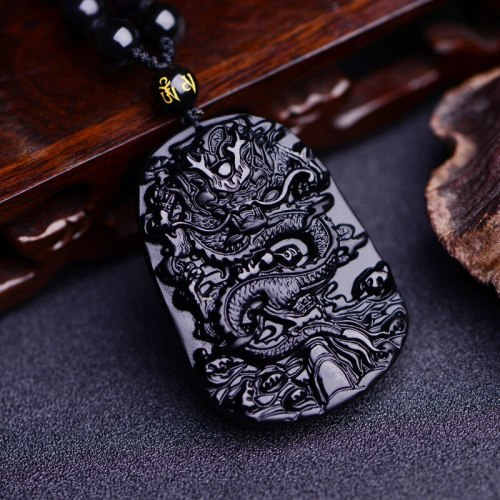 AAA natural black obsidian hand-carved round double Magpie of luck amulet pendants Free Shipping