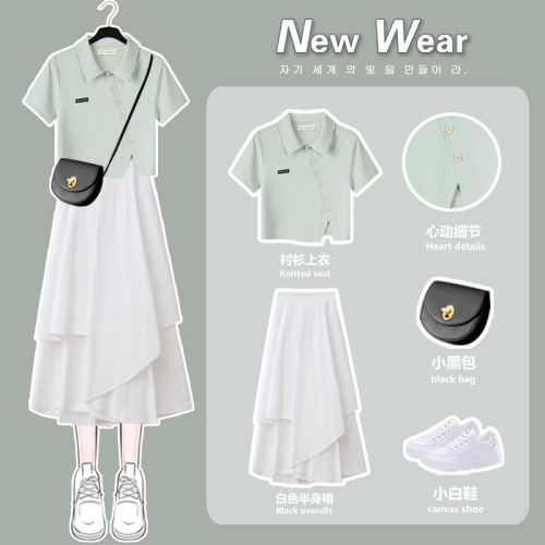 【Aeqpw's自訂-預售15天】小清新polo連衣裙子2021夏季新款設計感小眾顯瘦修身氣質兩件套裝