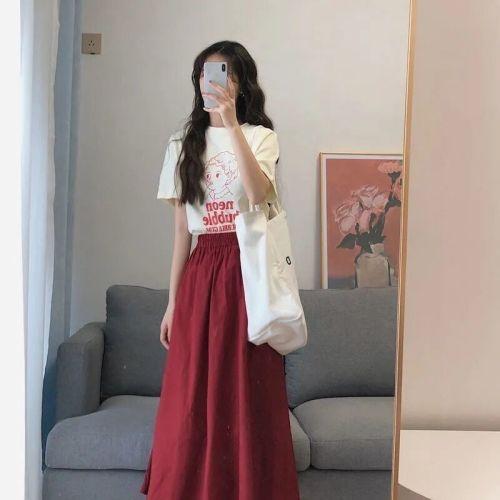 【Aeqpw's自訂】2021夏裝新款鬼馬少女可鹽可甜設計感T卹港風復古chicc半身裙套裝
