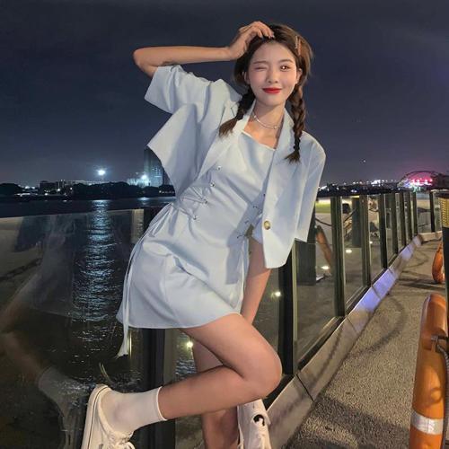 【Aeqpw's自訂】甜酷西裝套裝夏季韓版2021新款設計感短款寬鬆短袖小西服女兩件套
