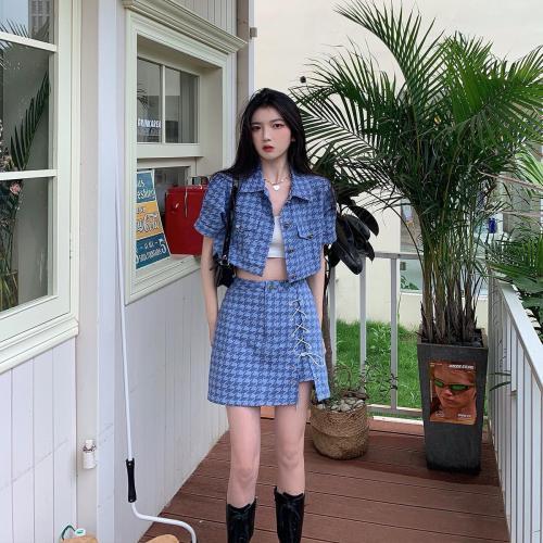 【Aeqpw's自訂】夏季新款藍色千鳥格兩件套短上衣高開叉短裙炸街減齡套裝