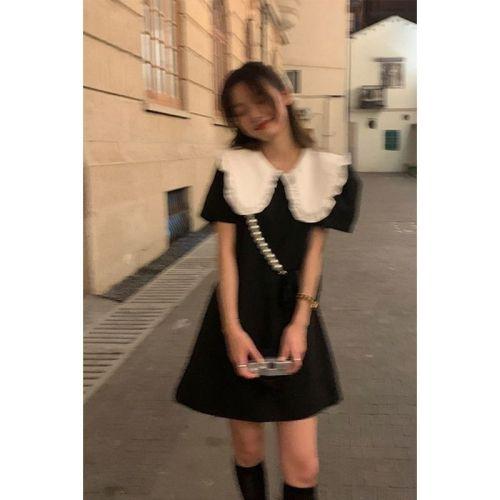 【Aeqpw's自訂】設計感溫柔學院連衣裙女韓風寬鬆娃娃領泡泡袖在逃公主裙2021夏季