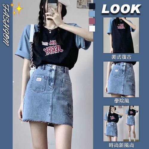 【Aeqpw's自訂】夏季2021新款ins酷女孩穿搭設計感可鹽可甜小個子炸街牛仔裙套裝
