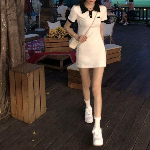【Aeqpw's自訂】連衣裙女韓系少女polo連衣裙翻領辣妹修身原創標籤包臀短袖T卹裙