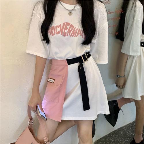 【Aeqpw's自訂】純棉兩件套學生大碼設計感寬鬆中長款T卹裙女上衣+不規則半身短裙