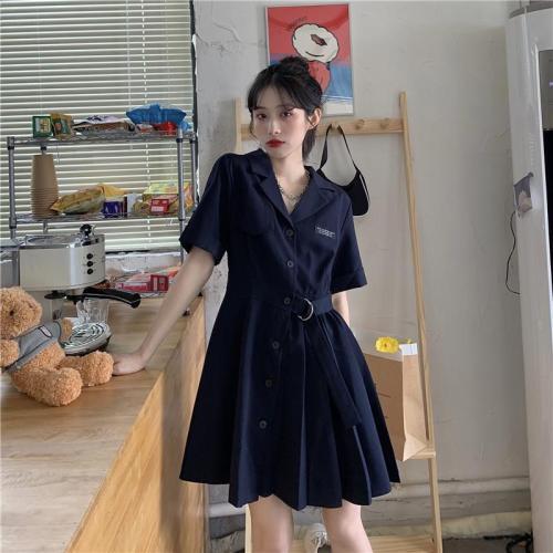 【Aeqpw's自訂】西裝領氣質收腰顯瘦短袖連衣裙夏季新款女學生韓版時尚百褶a字裙