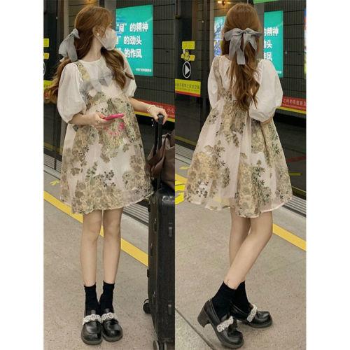 【Aeqpw's自訂】套裝裙女2021夏季新款韓版復古襯衫+蝴蝶結碎花背帶連衣裙兩件套
