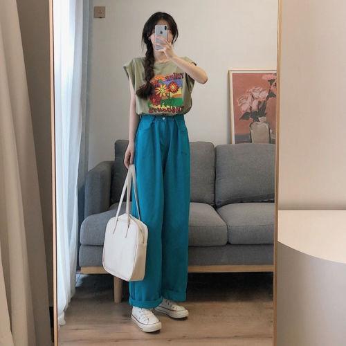 【Aeqpw's自訂】ins夏裝新款鬼馬少女甜酷穿搭港風復古T卹泫雅風高腰闊腿褲兩件套