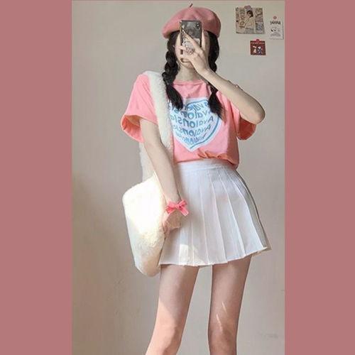 【Aeqpw's自訂】2021夏季新款ins鬼馬少女可鹽可甜設計感上衣心機百褶短裙兩件套