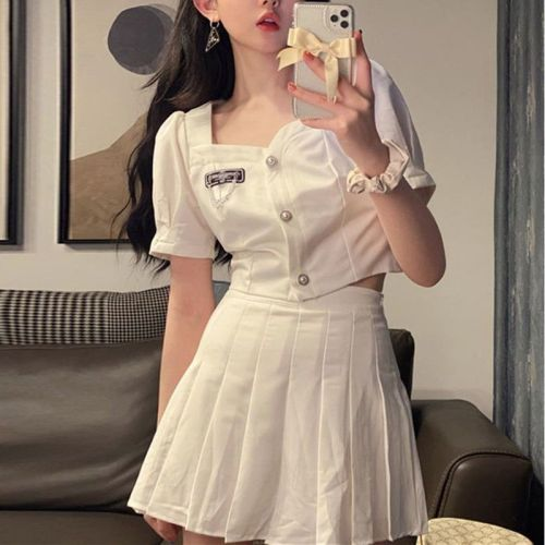 【Aeqpw's自訂】套裝裙女2021夏季新款韓版短款泡泡袖襯衫+高腰百褶半身裙兩件套