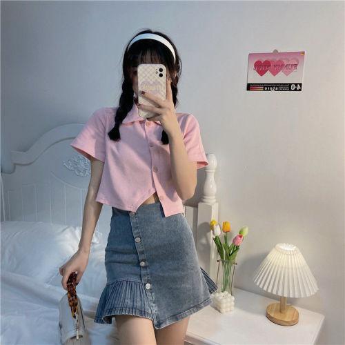 【Aeqpw's自訂】牛仔半身裙兩件套2021新款韓版設計感套裝女夏季短裙短袖粉色上衣