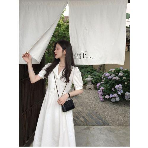 【Aeqpw's自訂】輕奢溫柔風茶歇法式小個子白色長裙夏季連衣裙初戀復古設計感小眾