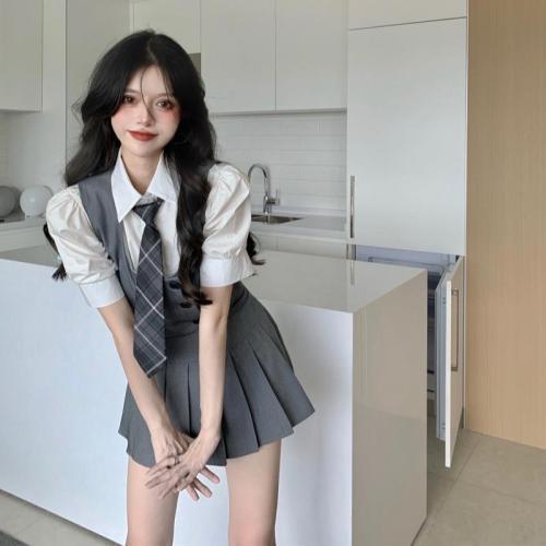 【Aeqpw's自訂】套裝短裙女2021夏季新款韓版學生襯衫+馬甲+高腰百褶半身裙三件套