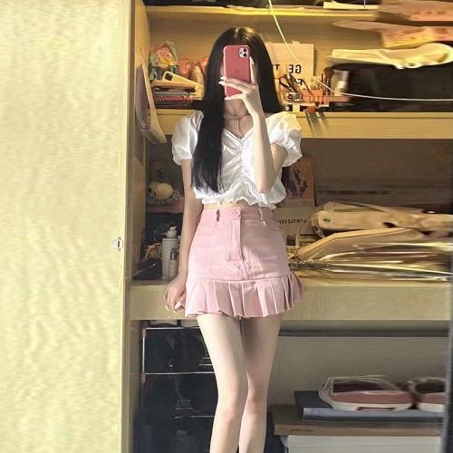 【Aeqpw's自訂】少女心粉色牛仔裙套裝女夏新款百搭辣妹白色上衣百褶半身裙兩件套