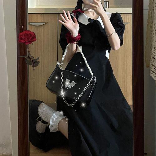 【Aeqpw's自訂】赫本風法式複古收腰顯瘦小黑裙2021新款夏季泡泡袖小個子連衣裙