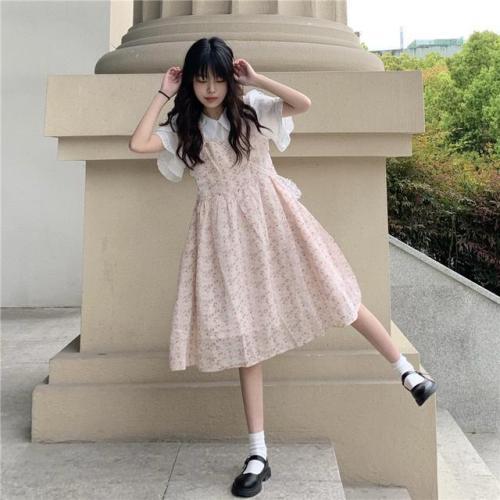 【Aeqpw's自訂】甜美小清新裙子套裝女學生韓版荷葉邊碎花背帶裙白色襯衫兩件套