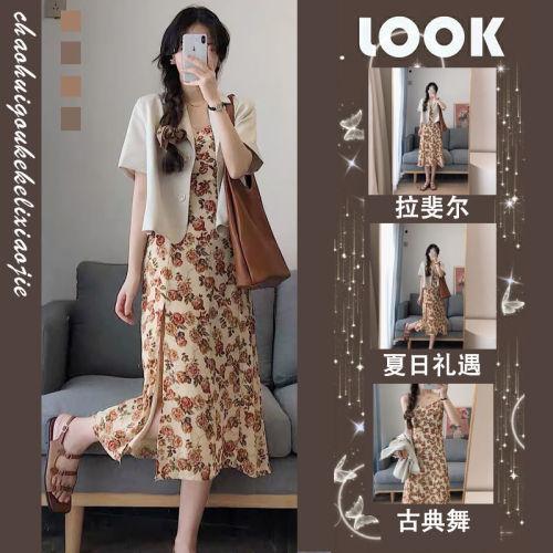 【Aeqpw's自訂】2021夏季新款法式設計感小眾心機炸街小個子桔梗套裝碎花連衣裙