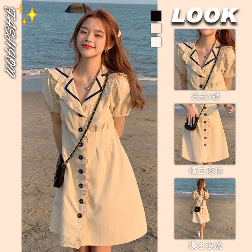 【Aeqpw's自訂】2021夏新款韓版法式複古海軍領連衣裙收腰顯瘦氣質優雅泡泡袖裙子