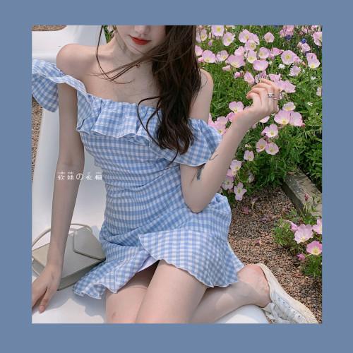 【Aeqpw's自訂】清純茶系辣妹~純欲格子一字肩花邊修身連衣裙短款