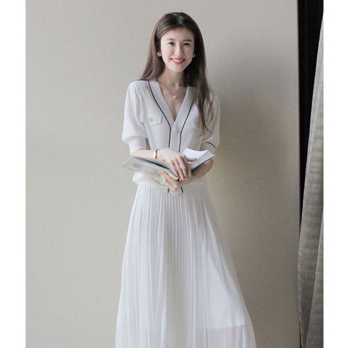 【Aeqpw's自訂】短袖名媛小香風港風復古顯瘦高級感炸街半身裙職業兩件套裝女夏裝