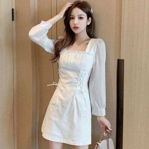 【Aeqpw's自訂】2021秋季法式設計感小眾氣質裙子顯瘦褶皺方領白色收腰名媛連衣裙