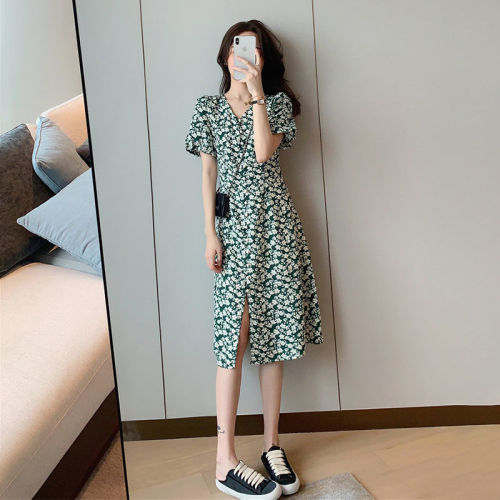 【Aeqpw's自訂】2021夏季新款韓版法式小清新初戀氣質超仙綠色碎花中長款連衣裙女