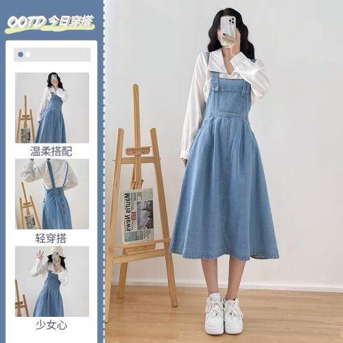 【Aeqpw's自訂】大碼女裝胖mm時尚寬鬆背帶裙女裝2021新款遮肉收腰顯瘦減齡潮裙