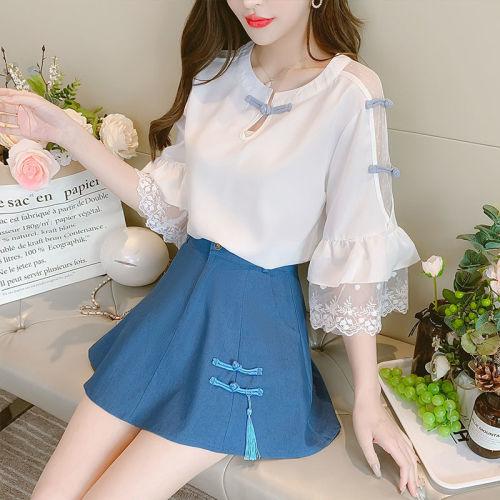 【Aeqpw's自訂】小香風時尚套裝女夏季2021新款氣質洋氣雪紡襯衫百搭半身裙兩件套