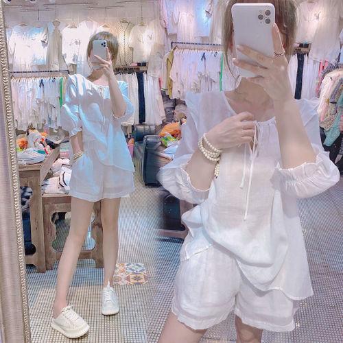 【Aeqpw's自訂】2021夏季新款麻棉時尚網紅同款白色7分袖上衣闊腿短褲兩件套裝女