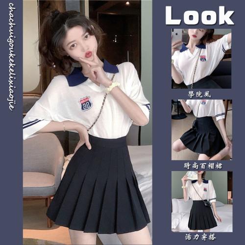 【Aeqpw's自訂】單/套裝 運動休閒新款2021夏季套裝女學生韓版兩件套氣質JK風短袖