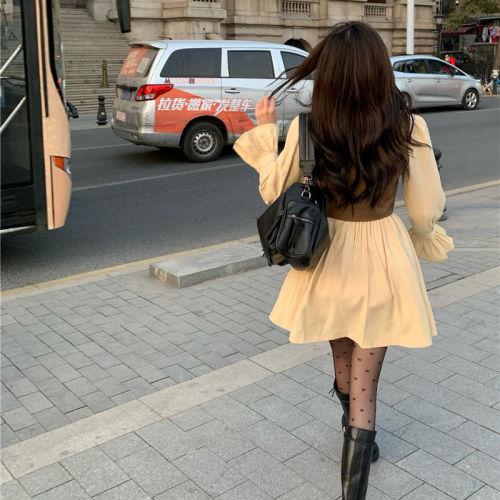 【Aeqpw's獨家】套裝女2021春秋新款復古馬甲短外套+甜美修身顯瘦連衣裙兩件套潮