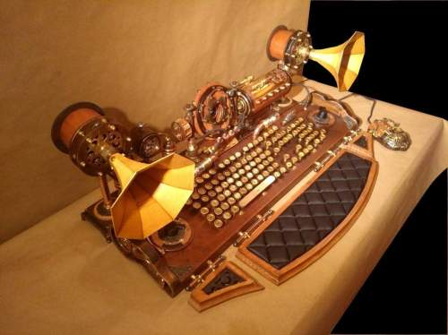 Set of steampunk keyboard, mouse and USB lights