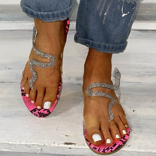 Women's shoes transparent upper rhinestone snake square heel sandals and slippers HWJ099