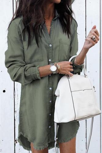 Multi-color hem cuffs tassel denim shirt female autumn 597662555417