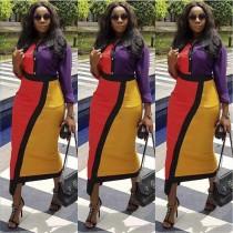 Colors Patchwork Woman Midi Bodycon Dress MDF-5029