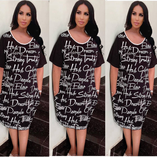 Women's Casual Letter Print Short Sleeve Loose T-Shirt Dress XM6007