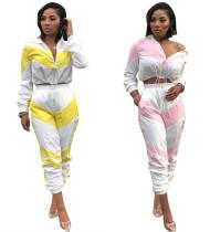 Wholesale Women Elastic Waist Color Patchwork Sport Suits D8241