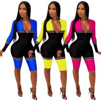 Female Bodycon 3 Colors Mid Jumpsuit For Sports QQM3825