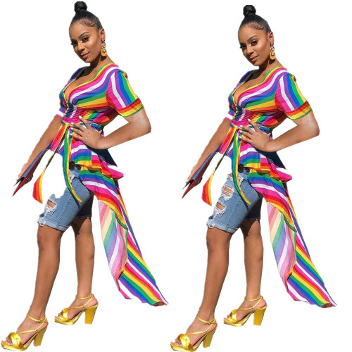 Fashion Rainbow Stripe Swallowtail Women Top HG5207