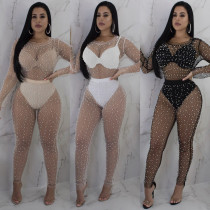 Two-piece set of hot-selling sexy see-through foam beads (without base clothes) VN8577