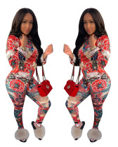 Trendy Floral Print Suits Turn-Down Shirt Tight Pants YZ1696