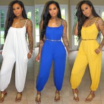 Solid color sexy overalls LS6353