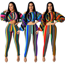Autumn Colorful Clothes Striped 2 Pieces Long Outfits Q307