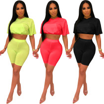 Sports Pure Color Mesh Sets Hooded Crop Top Bodycon Shorts RB3013