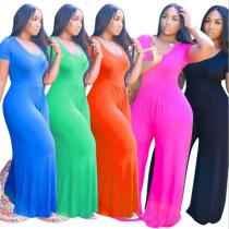 Net color wide-leg short-sleeved fashion casual plus size women's jumpsuit OSS20722