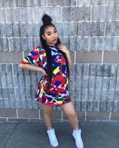 Leisure Wear Colorful Print T Shirt Dress YYZ921