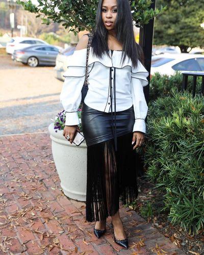 Fringe Skirt PU Leather Skirt DM8036
