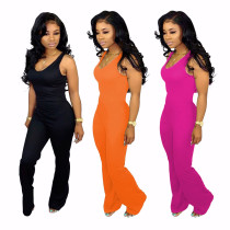 Fashion sexy sleeveless solid color wide-leg flared jumpsuit U7078