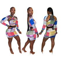 Fashion sexy cutout newspaper print skirt suit YM9182